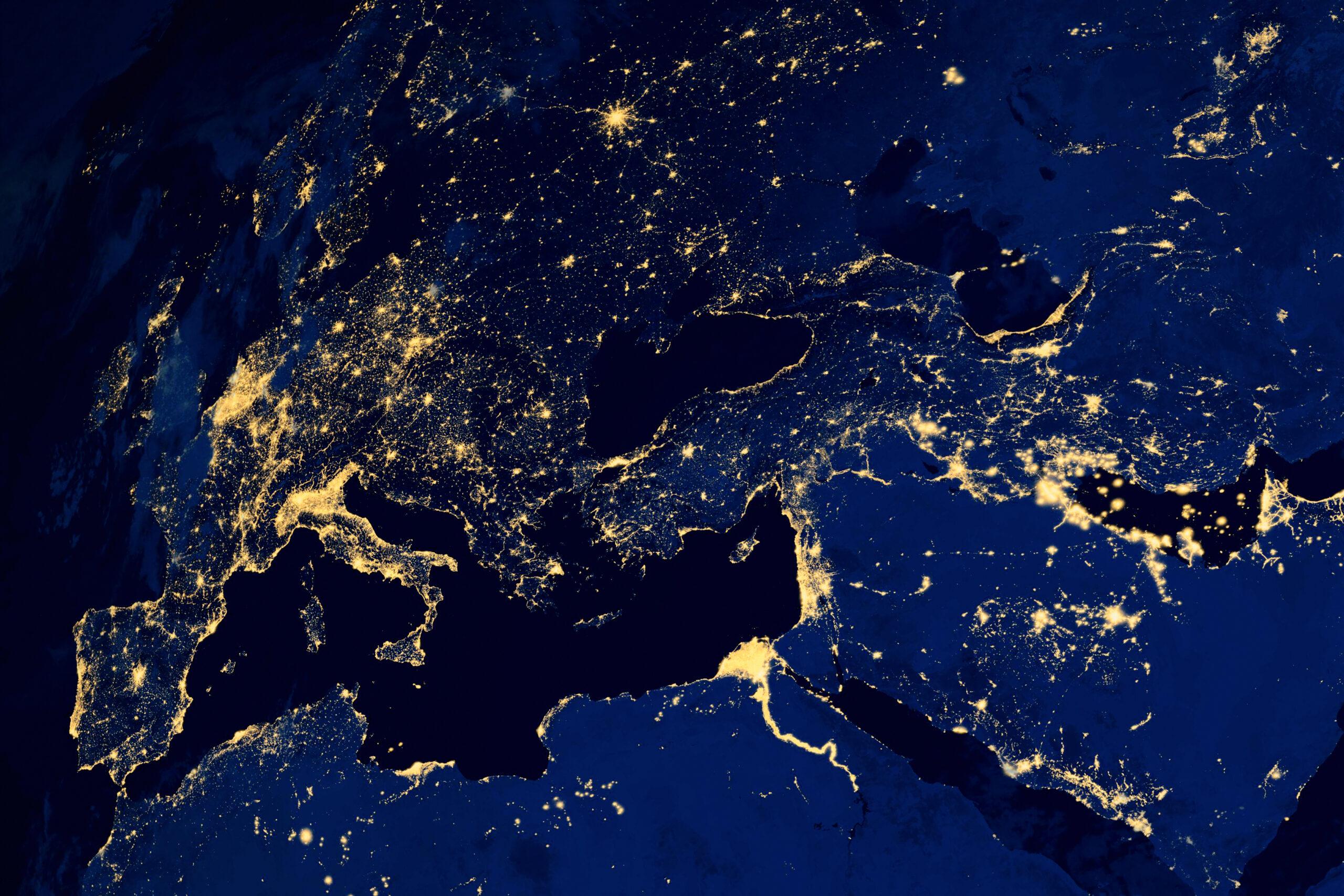 Satellite map of European cities